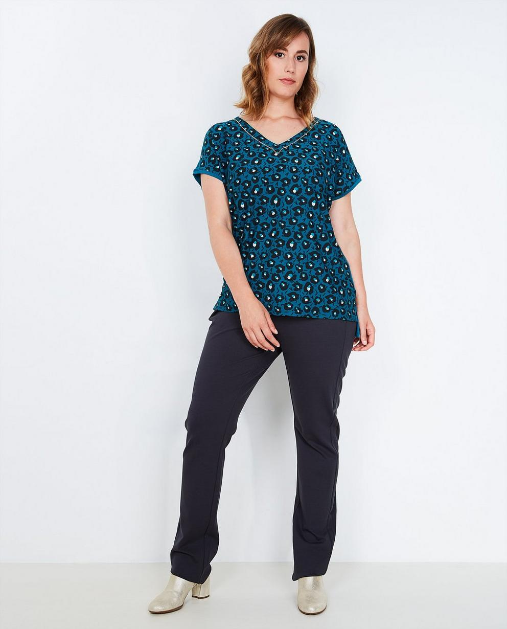 Pantalon bleu stretchy  - avec un biais noir - Lena Lena